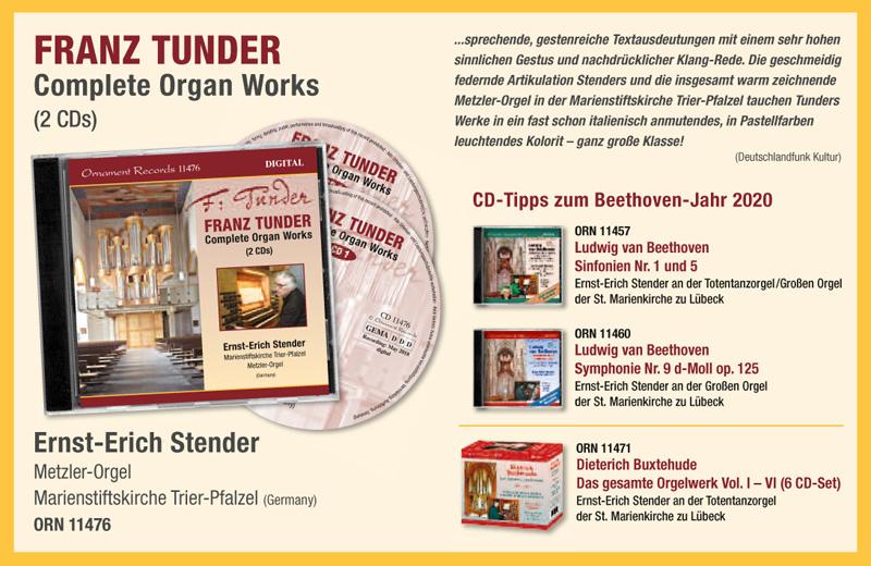 Anzeige Ernst-Erich Stender - Franz Tunder - Complete Organ Works